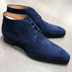 Elegant Handmade Blue Color Suede Boots, Men's Fashion Chukka Lace Up Boots - theleathersouq