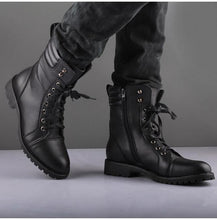 Load image into Gallery viewer, Handmade men's Black Color Lace Up & Zipper Strap Leather Boot, Men's Formal Boots - theleathersouq