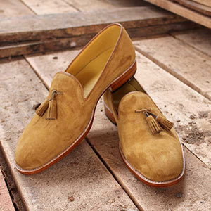 Elegantly Designed Men's Handmade Loafer Suede Leather Shoes, Men suede Loafers - theleathersouq