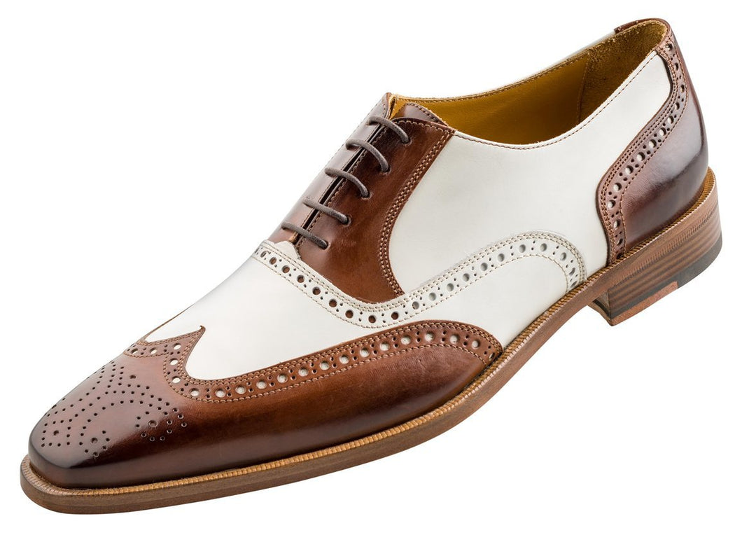 Stylish Handmade Men's Oxford Burnished Brogue Wingtip Brown & White Leather Shoes - theleathersouq
