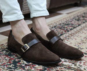 Handmade Men's Brown Suede Monk Strap Slip On Loafers, Men Brown Dress Shoes - theleathersouq