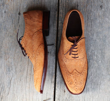Load image into Gallery viewer, Handmade Men's Tan Wing Tip Brogue Suede Shoes, Men Suede Dress Shoes - theleathersouq