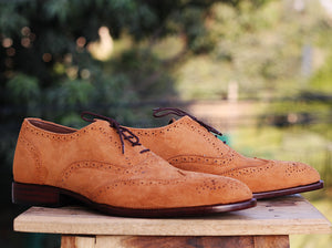 Handmade Men's Tan Wing Tip Brogue Suede Shoes, Men Suede Dress Shoes - theleathersouq