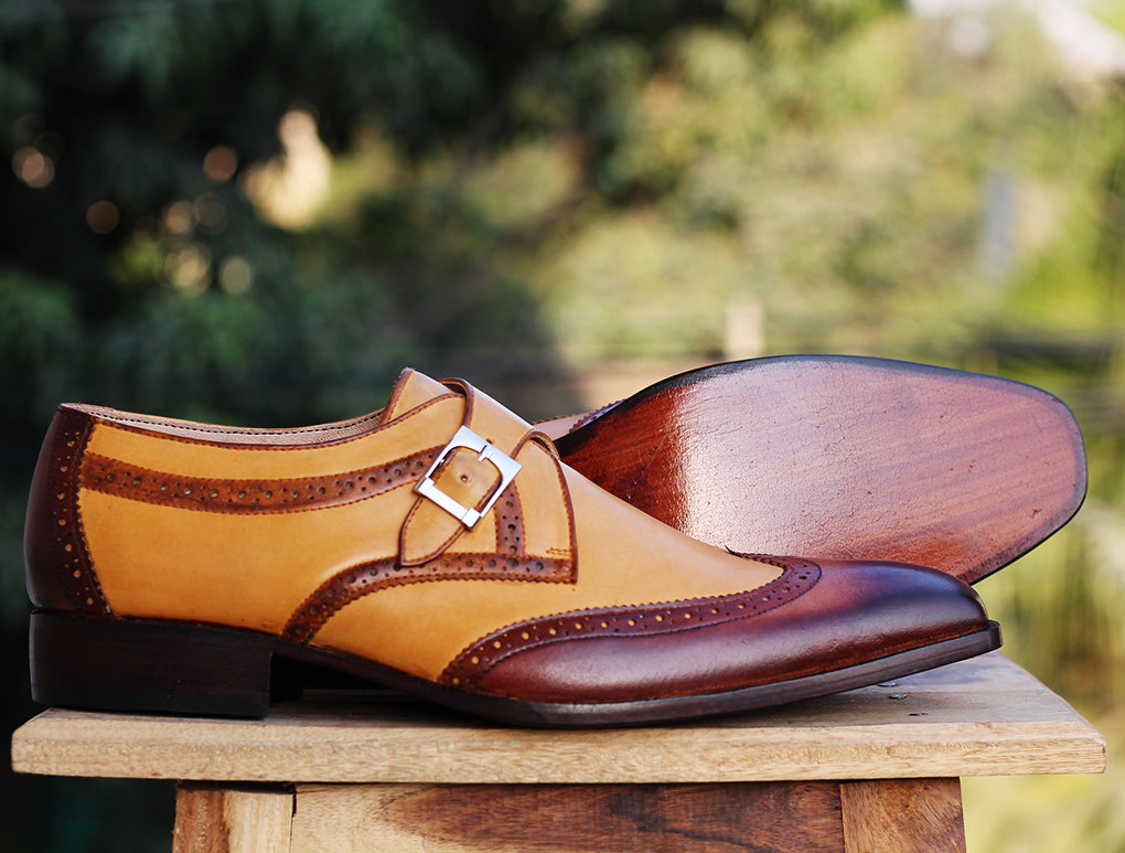 Handmade men's Tan Brown Wingtip Monk Leather Shoes, Men's Monk Dress Shoes - theleathersouq