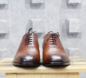 Handmade Men's Brown Brogue Leather Shoes, Men's Brown Lace Up Dress Shoes - theleathersouq