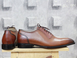 Handmade Men's Brown Brogue Leather Lace Up Shoes, Men Designer Dress Formal Luxury Shoes - theleathersouq