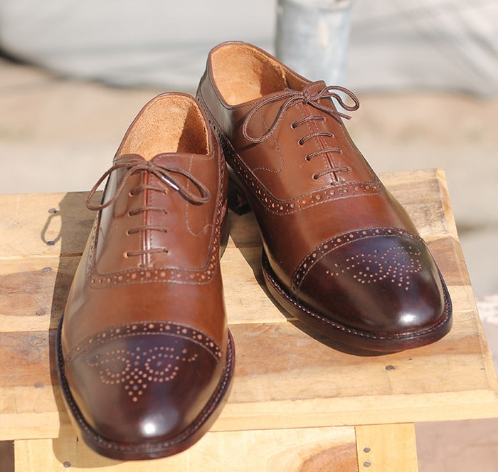 Handmade Men's Two Tone Brown Brogue Leather Shoes, Men's Lace Up Dress Shoes - theleathersouq