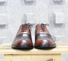 Load image into Gallery viewer, Handmade Men's Two Tone Tan Brown Wing tip Leather Shoes - theleathersouq