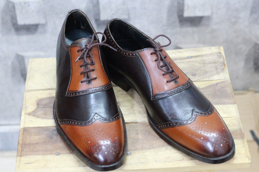 Handmade Men's Two Tone Tan Brown Wing tip Leather Shoes - theleathersouq