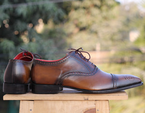 Handmade Men's Cap Toe Brogue Leather Shoes, Men's Brown Lace Up Dress Shoes - theleathersouq