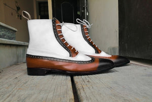 Handmade Men's Ankle High Lace Up Boots, White & Brown Color Leather Wing Tip Brogue Dress Boots - theleathersouq