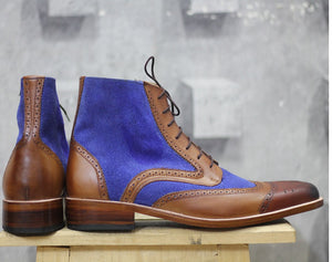 Elegantly Designed Handmade Leather & Suede boots for men, Men's Brown & Blue ankle high boots - theleathersouq