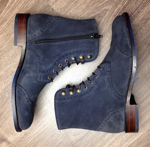 Handmade Men's Navy Blue Lace Up Boots, Suede Leather Wing Tip Brogue Zipper Boots - theleathersouq