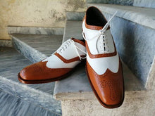 Load image into Gallery viewer, Handmade Men's White & Tan Leather Shoes, Wing Tip Brogue Dress Lace Up Shoes - theleathersouq