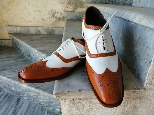 Handmade Men's White & Tan Leather Shoes, Wing Tip Brogue Dress Lace Up Shoes - theleathersouq