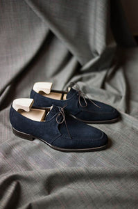 Stylish Handmade Men's Round Toe Navy Blue Suede Shoes, Men Formal Laces Shoes - theleathersouq
