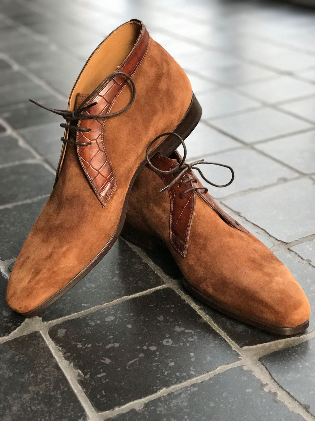 Handmade Men's Brown Leather Suede Chukka Boots, Men Lace Up stylish Dress Boots - theleathersouq