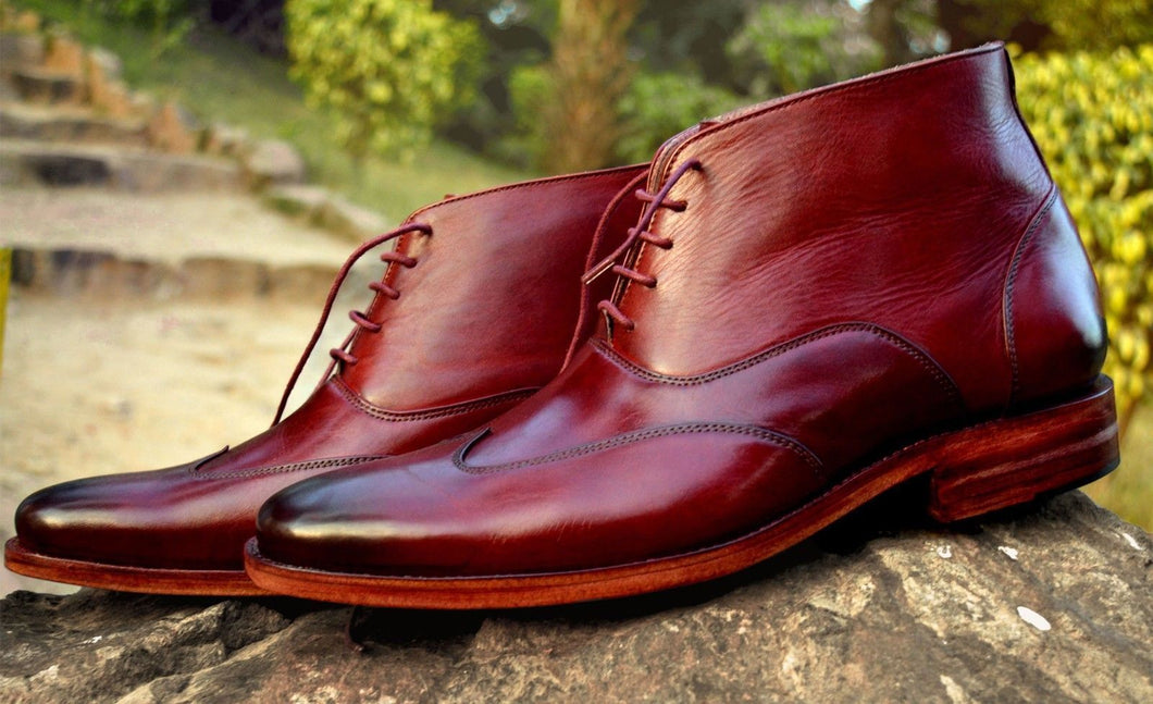 Handmade Men's Wing Tip Burgundy Leather Boots, Men Lace Up Chukka Stylish Boots - theleathersouq