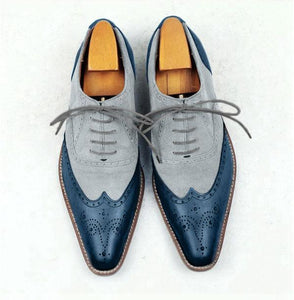 Handmade Men's Elegant formal Two Tone shoes, Men's Leather & Suede dress shoes - theleathersouq