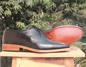 Handmade Men's Black Whole Cut Leather Shoes, Men Lace Up Dress Formal Shoes - theleathersouq