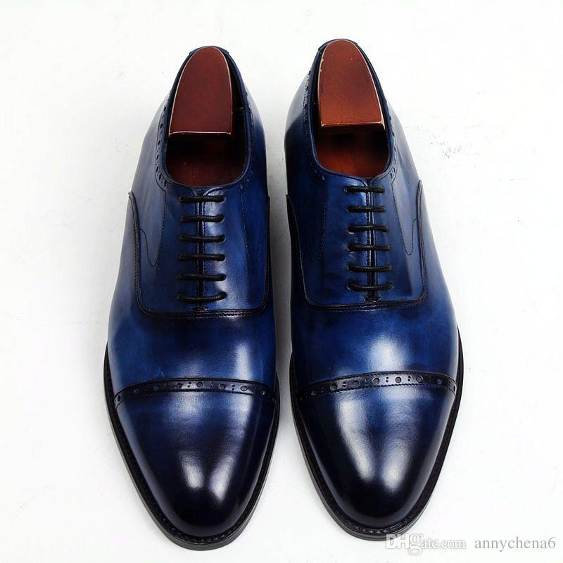 Handmade Men's Navy Color Leather Shoes, Men Cap Toe Dress Formal Lace Up Shoes - theleathersouq