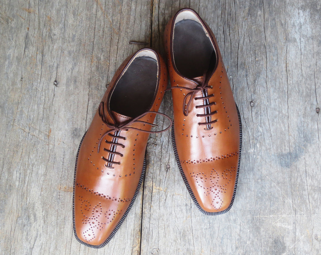 Handmade Men Cap Toe Brogue Tan Leather Stylish Dress Formal Lace Up Shoes - theleathersouq