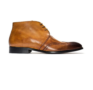 Handmade Men's chukka Boots, Men's Tan Brown Black Leather Wing Tip Lace Up Boot - theleathersouq