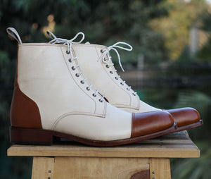 Handmade Men's Cream Brown Cap Toe Ankle Boots, Men Leather Lace Up Fashion Boots - theleathersouq