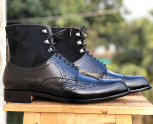 Handmade Black Leather Lace Up Ankle Boots, Men Suede & leather Fashion boots - theleathersouq