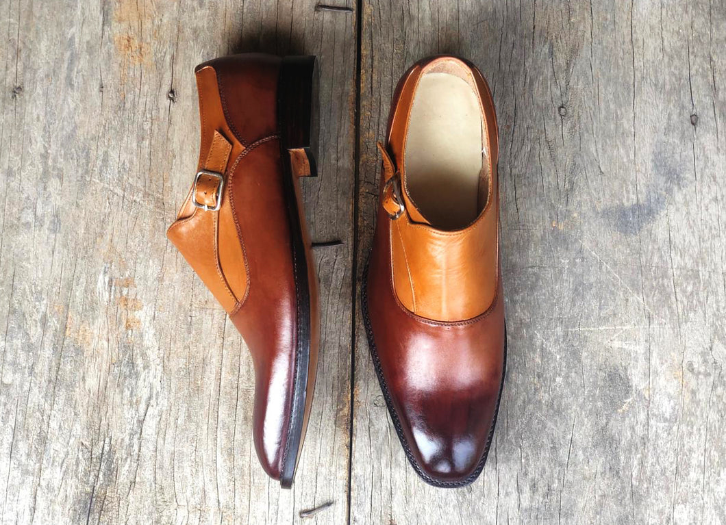 New Handmade Men's Tan & Brown Color Shoes, Men Stylish Leather Monk Strap Shoes - theleathersouq