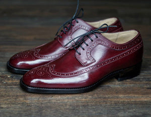 Men's Handmade Burgundy Color Leather Shoes, Men Wing Tip Brogue Dress Formal Lace Up Shoes - theleathersouq