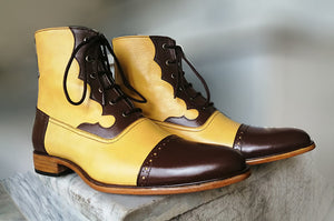 Handmade Men's Two Tone Cap Toe Lace Up Leather Boots, Men Stylish Lace Up Boots - theleathersouq