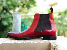 Load image into Gallery viewer, New Burgundy Chelsea Leather Boots. Men's Dress Fashion boots, Men Designer Boot - theleathersouq