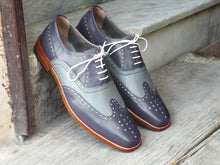 Load image into Gallery viewer, Men's Handmade Two Tone Gray Leather Shoes, Men Wing Tip Brogue Dress Formal Shoes - theleathersouq