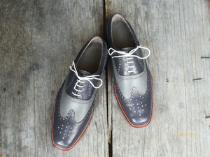 Men's Handmade Two Tone Gray Leather Shoes, Men Wing Tip Brogue Dress Formal Shoes - theleathersouq
