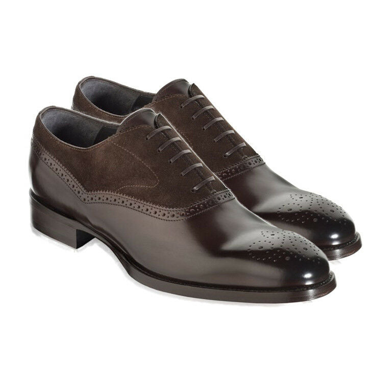 Handmade Men's Brown Formal Shoes, Men Leather Suede Dress Formal Lace Up Shoes - theleathersouq
