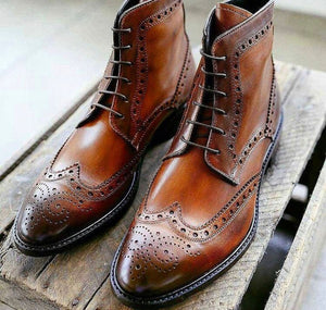 Men's Handmade Brown Ankle High Leather Boots, Men Wing Tip Brogue Lace Up Boots - theleathersouq