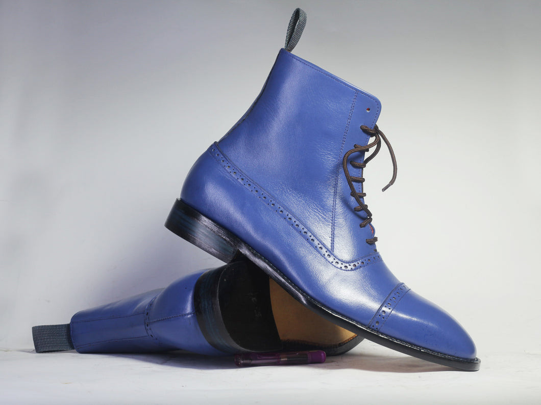 Handmade Men's Blue Color Ankle High Boots, Men Dress Leather Cap Toe Boots - theleathersouq