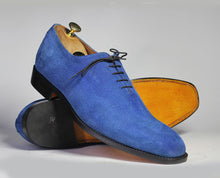 Load image into Gallery viewer, Handmade Men's Blue Color Suede Shoes, Men Lace Up Dress Formal Fashion Shoes - theleathersouq