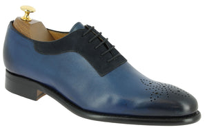 Handmade Men's Blue Leather Suede Lace Up Shoes, Men Brogue Dress Formal Shoes - theleathersouq