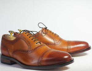 Handmade Men's Tan Cap Toe Brogue Leather Shoes, Men Lace Up Dress Formal Shoes - theleathersouq
