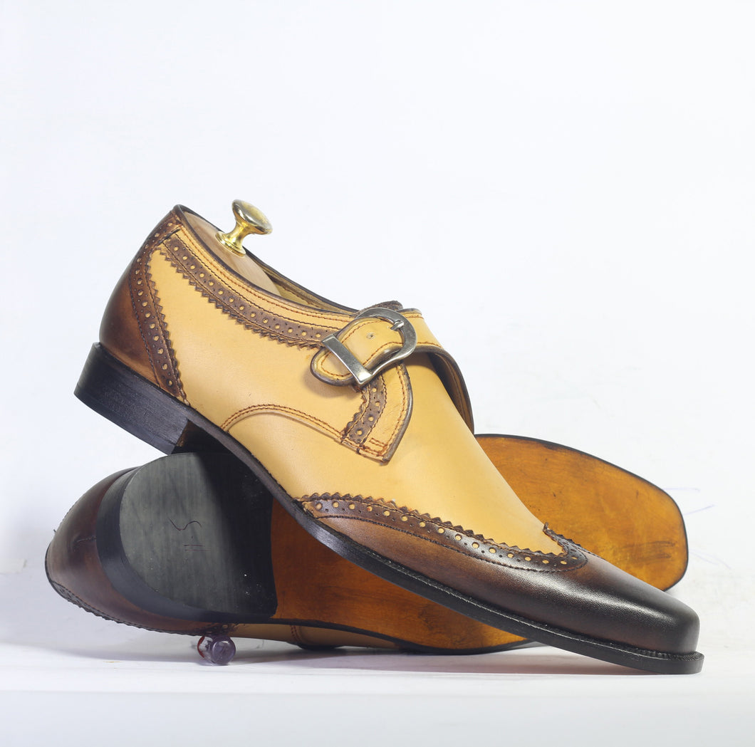 Handmade Men's Tan Brown Leather Shoes, Men Wing Tip Monk Straps Dress Shoes - theleathersouq