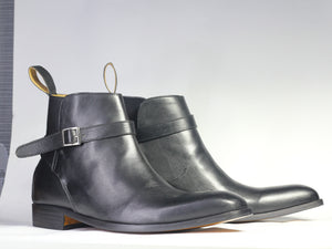 Handmade Men's Jodhpurs Leather Boots, Men Ankle High Leather Buckle Dress Boots - theleathersouq