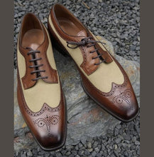 Load image into Gallery viewer, Men's Handmade Brown Beige Wing Tip Brogue Shoes, Men Leather Suede Dress Shoes - theleathersouq