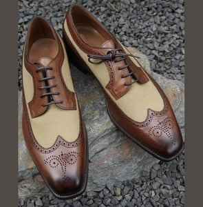 Men's Handmade Brown Beige Wing Tip Brogue Shoes, Men Leather Suede Dress Shoes - theleathersouq