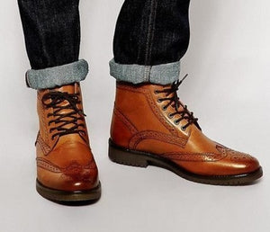 Handmade Men's Tan Brogue Ankle Boots, Men Wing Tip Lace up Casual Fashion Boots - theleathersouq