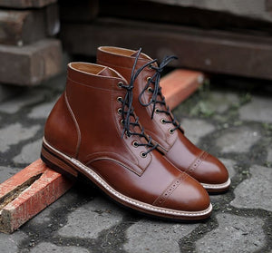 Handmade Men's Ankle High Leather Boots, Men's Brown Cap Toe Brogue Lace Up Boots - theleathersouq
