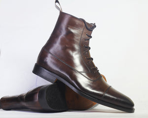 Handmade Men Chocolate Brown Ankle High Boots, Men Cap Toe Leather Lace Up Boots - theleathersouq