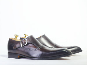 Handmade Men's Black Monk Strap Leather Shoes, Men Leather Dress Formal Shoes - theleathersouq