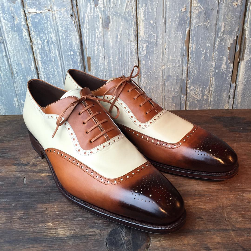 Handmade Men's 2 Tone Brown Beige Leather Shoes, Men Brogue Lace Up Dress Shoes - theleathersouq